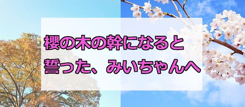 櫻の木の幹になると誓った、みいちゃんへ